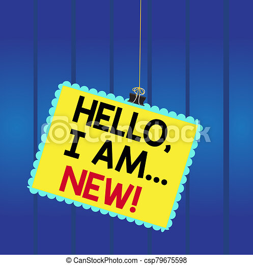 pegado, cuadrado, teléfono, conversación, estampilla, carpeta, utilizado, showcasing, foto, tip., new., empresa / negocio, escritura, marco, clip, nota, o, redondeado, color, comenzar, actuación, hola, saludo - csp79675598