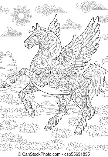 Pegasus flying horse. Coloring page for adult colouring book ...