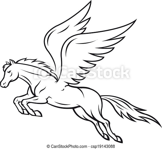 pegasus horse white pegasus horse with wings vector illustration rh canstockphoto com pegasus disney clipart black pegasus clipart