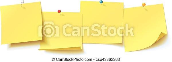 Pegatina amarilla clavada en el botón con curvas, lista para tu mensaje - csp43362383