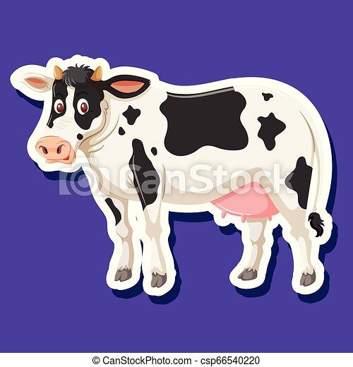Una pegatina de carácter de vaca - csp66540220