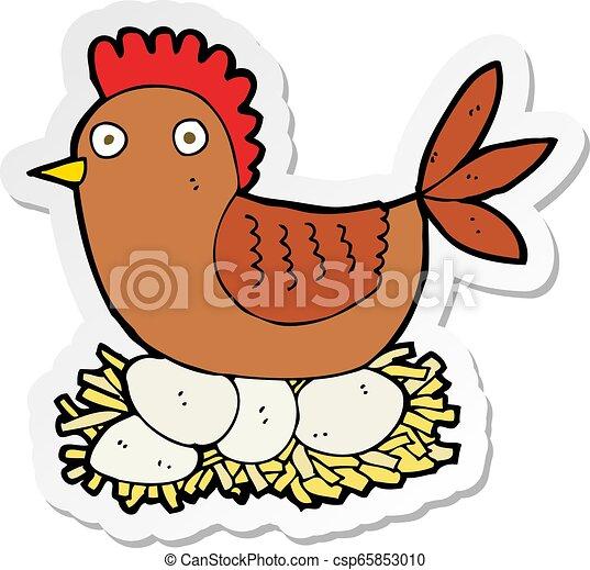 Pegatina de una gallina en huevos - csp65853010