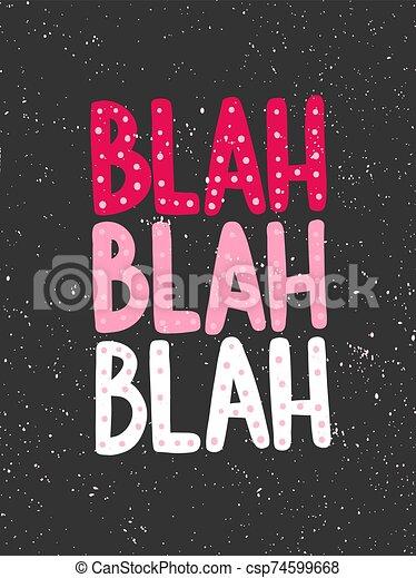 pegatina, mano, social, medios, content., blah., ilustración, design., blah, dibujado, vector - csp74599668