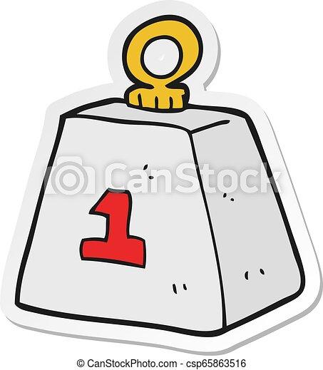Pegatina de una caricatura de una tonelada de peso - csp65863516
