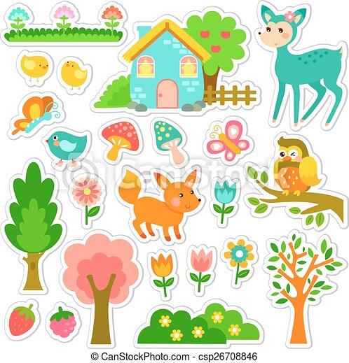 Diseño de etiquetas forestales - csp26708846