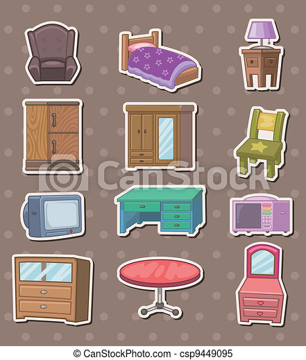Clipart vectorial de pegatinas muebles muebles for Stock de muebles