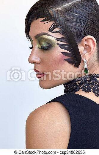 Peinado Moda 1920s Elegante Retro Mujer Retrato Pluma
