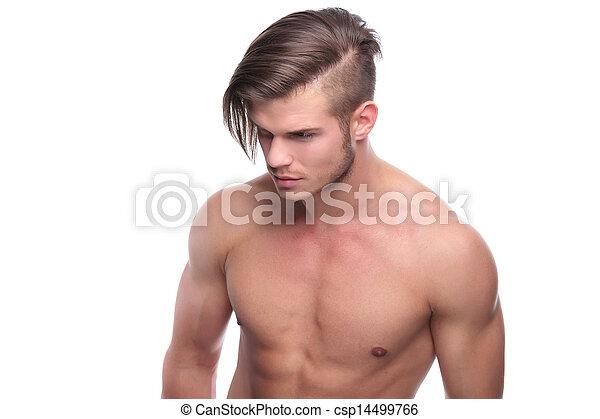 Peinado Moda Agradable Topless Hombre Moda Camara Joven