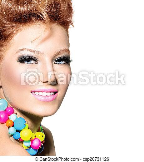 peinado, moda, colorido, belleza, maquillaje, retrato, niña - csp20731126