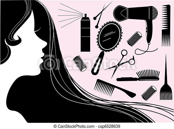 peinado, salón, belleza, element.vector - csp6528639