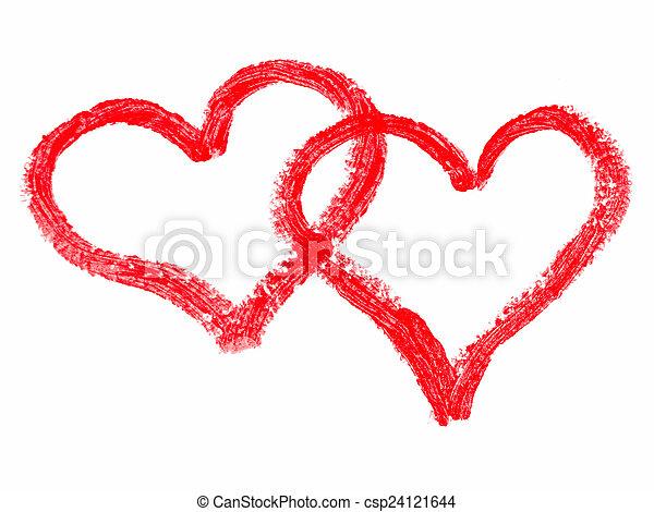 peint, cœurs, rouge lèvres - csp24121644