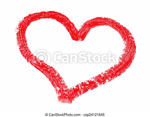 peint, cœurs, rouge lèvres - csp24121645