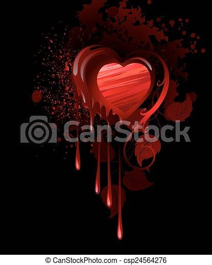 peint, coeur, rouges - csp24564276