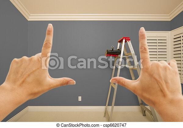 peint, gris, mur, encadrement, mains, intérieur - csp6620747