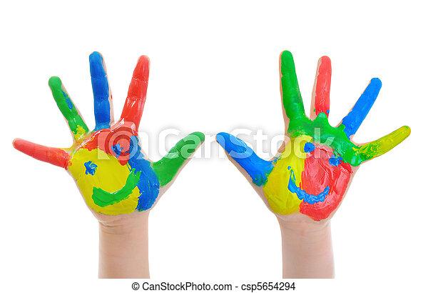peint, main, enfant - csp5654294