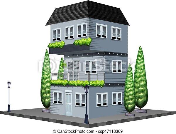 peint maison gris csp47118369