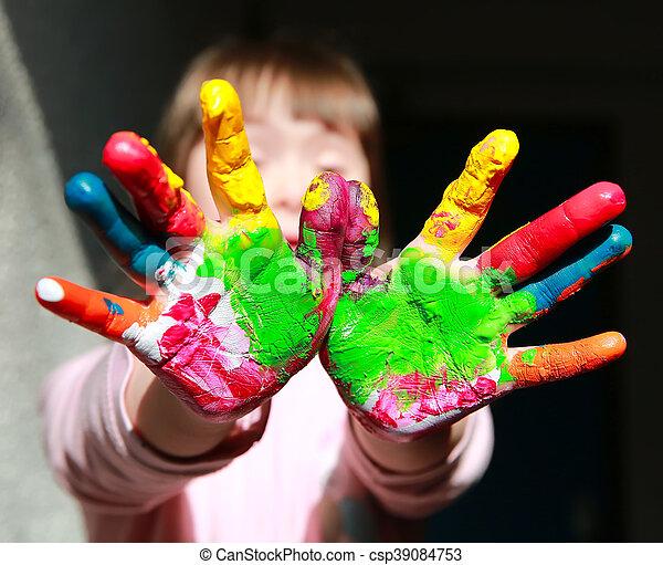 peint, mignon, peu, gosse, mains - csp39084753