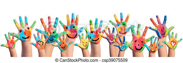 peint, smileys, mains - csp39075509
