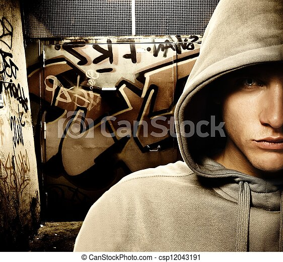 peint, voyou, regarder, graffiti, porte, frais - csp12043191