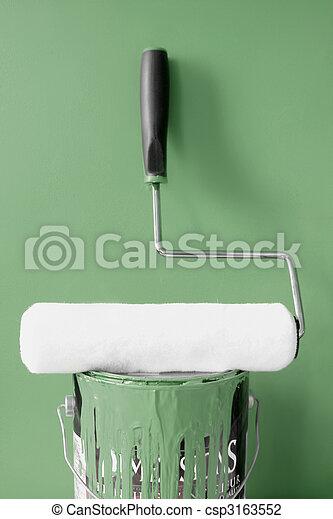 peinture, kaki, vert, rouleau - csp3163552