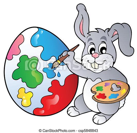 """Résultat de recherche d'images pour """"clipart lapin de paques peinture"""""""