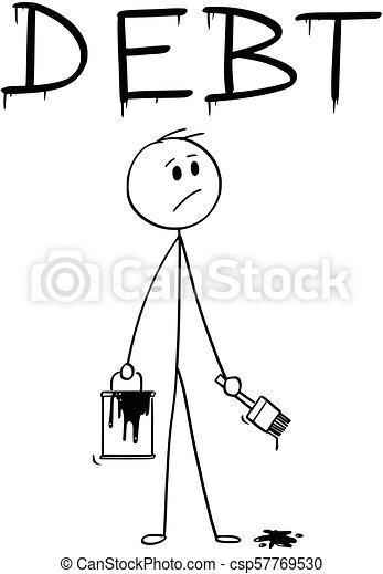 peinture mot, brosse, homme affaires, dette, peinture, dessin animé, boîte - csp57769530