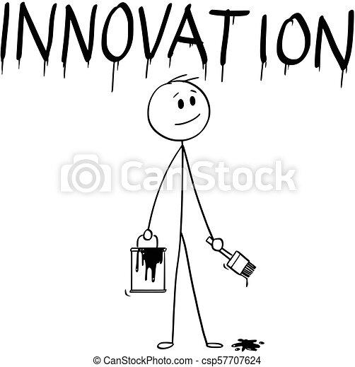 peinture mot, brosse, innovation, homme affaires, peinture, dessin animé, boîte - csp57707624