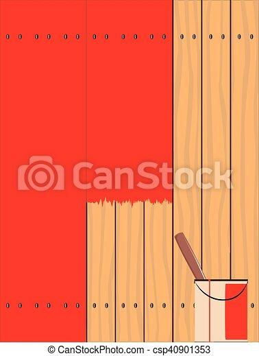 Peinture, Rouges, Barrière. Fait, Barrière, Bois Tendre,  Clipart