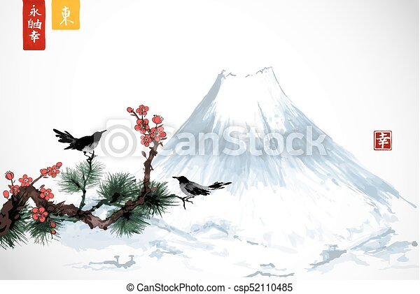 Peinture Zen Liberté Nature Arbre Contient Japonaise Pin