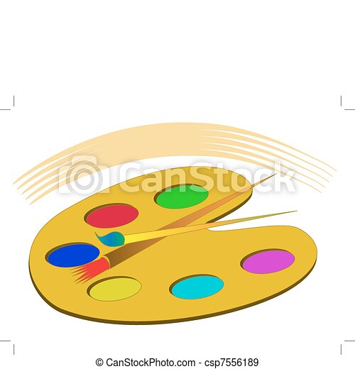 peintures, palette, isolé, gland - csp7556189