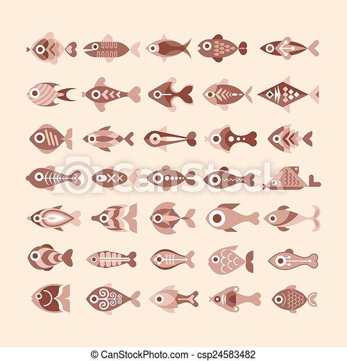 peixe, jogo, ícone - csp24583482