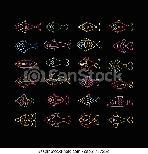 peixe, néon, ícones - csp51737252