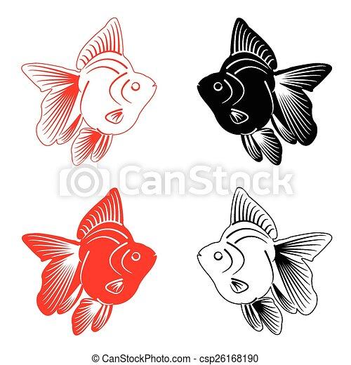 peixe, silueta - csp26168190