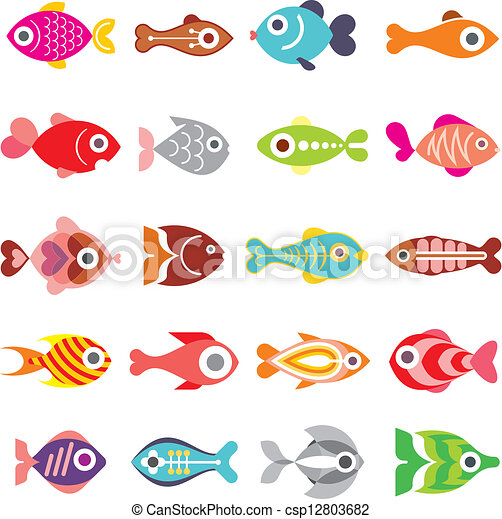 peixe, vetorial, jogo, ícone - csp12803682