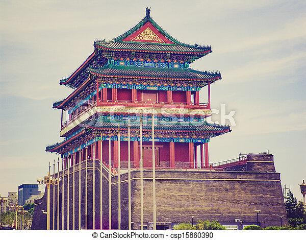 Tiananmen en el aspecto retro - csp15860390