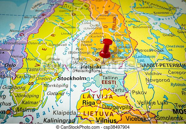 Stad Pekande Pushpin Helsingfors Karta Haftstift Rod