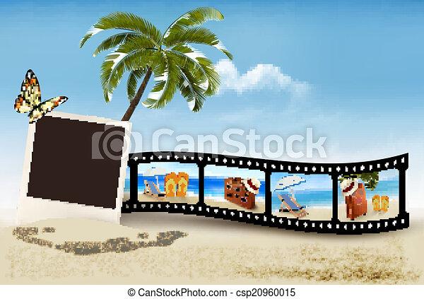película, praia., fita, férias, vector. - csp20960015