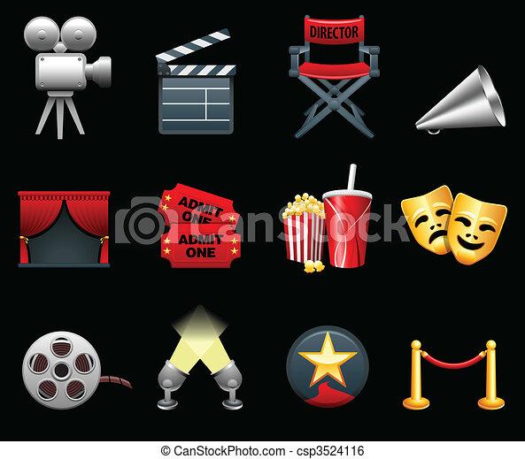 Colección de iconos de la industria del cine y del cine - csp3524116