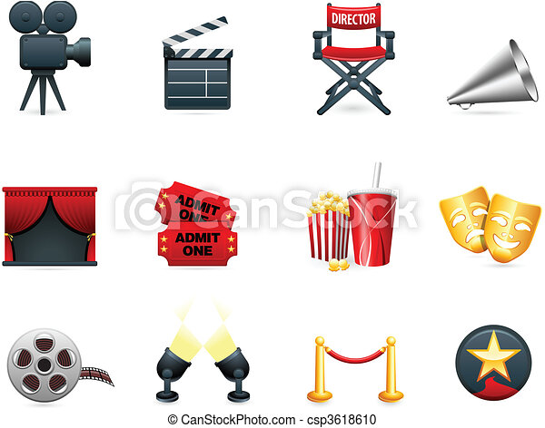 Colección de iconos de la industria del cine y del cine - csp3618610
