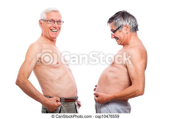 pelado, engraçado, seniores, barriga, comparando - csp10476559