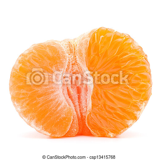 Imagen de archivo de pelado mandarina fruta mitad mandarn o