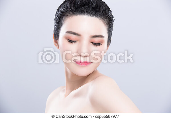 pele, mulher, conceito, cuidado beleza - csp55587977