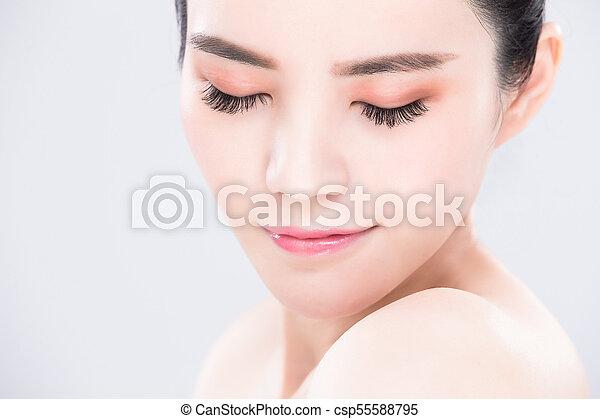 pele, mulher, conceito, cuidado beleza - csp55588795