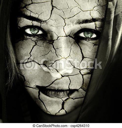 pele, rachado, rosto mulher - csp4264310