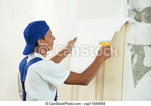 peler, papier peint, ouvrier, fermé, peintre - csp11644659