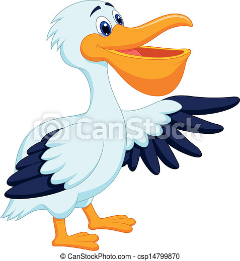 Pelican bird cartoon waving  - csp14799870