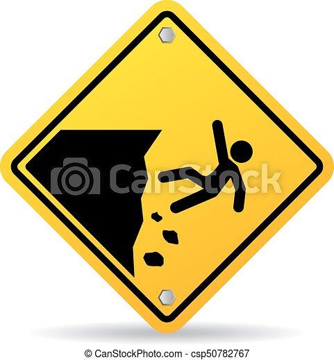 Señal de advertencia del borde del precipicio - csp50782767
