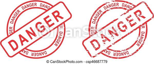 Marcas de etiqueta de peligro en círculo - csp46687779