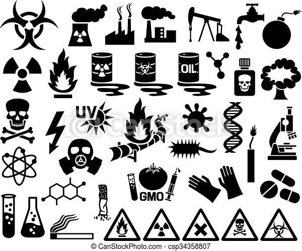 Peligro, contaminación y iconos peligrosos - csp34358807