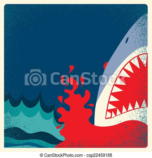 Cartel de mandíbulas de tiburón. Antecedentes de peligro vector - csp22459188